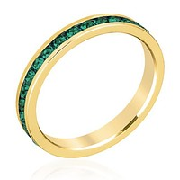 Gail Emerald Green Eternity Stackable Ring   1ct   18k Gold