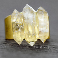 3 STONE DIAMOND RING, Herkimer Diamonds Natural Stone Ring Gold Open Metalwork 8.75