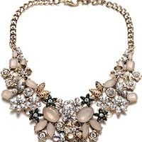 Vintage Antique Gold Collar Chain Sparkly Crystal Choker Statement Necklace for Women Party