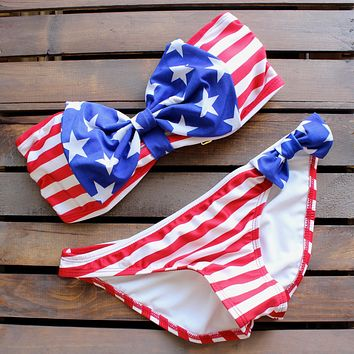 Final Sale - American Flag Bow Bikini