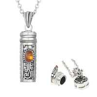 Mezuzah Necklace Locket Pendant & Chain. Color Stones