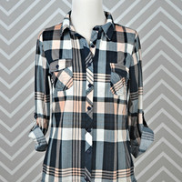 Country Backwoods Flannel - Navy/Peach