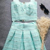 Casual Green Plaid 2-in-1 Pleated V-neck Mini Dress