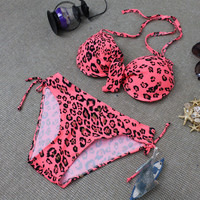 Sexy Women's Red Bikini Swimsuits Two Pieces