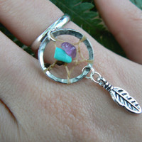 dreamcatcher ring gemstones amethyst and turquoise feather in tribal fusion boho gypsy hippie hipster native american and tribal style