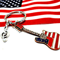 Guitar Keychain, Patriotic Key Chain, Red White and Blue Guitar Charm Keychain, Music Gifts, American Flag Car Accessory, Gift for Veteran