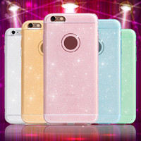 5S 6S pink color phone case For iphone 5 6 6plus 6s plus mobile phone accessories Ultra Thin TPU soft shining golden Bling cover