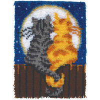 Wonderart Moonlight Meow Cat Latch Hook Rug Kit 15x20 Made in the USA