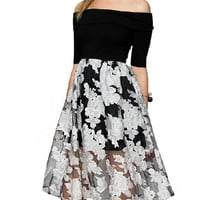 Black Off Shoulder High Waist Dress with White Floral Sheer Mesh Skirt
