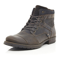 River Island MensBrown leather military boots