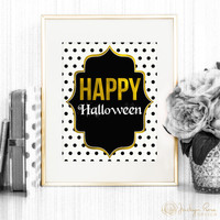 Happy Halloween, Halloween printable, Halloween wall art, faux gold foil decor 8 x 10 (Printable - Instant digital download - JPG)