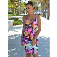 Butterfly Print Spaghetti Strap Plunging Bodycon Dress