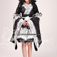 Black and White V-Neck Long Sleeves Short Lace Trim and Ruffles Cosplay Lolita Dress