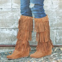 Tan Wedge Fringe Boots with Studs