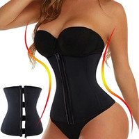 Zipper And Hooks Combo Rubber Latex Waist Trainer Sexy Waist Training Corsets Underbust Waist Cincher Zip And Clip Waist Shaper [9714856591]