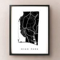 High Park Map - Toronto Neighbourhood Art Print