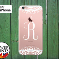 Cursive Initial Monogram White Lace Fancy Cute Tumblr Clear Rubber Phone Case for iPhone 5/5s and 5c and iPhone 6 and 6 Plus + and iPhone 6s