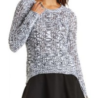Marled Cable Knit Tunic Sweater by Charlotte Russe - Ivory Combo