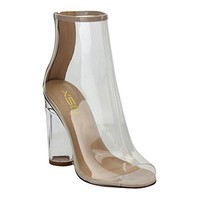 Women's Ankle High Peep Toe Lucite Heel Bootie Sandals