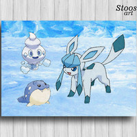 glaceon pokemon wall art vanillite spheal pokemon art print