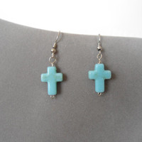 Small Turquoise Cross Dangle Earrings hanging drop hippie religious boho gypsy teen child bohemian cowgirl style jewerly