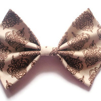 BIG bow - Cream and Brown - Beige and Chocolate Patterened Hair Bow
