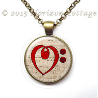 Musical Heart Love Pendant or Key Ring - Treble Clef on Chopin