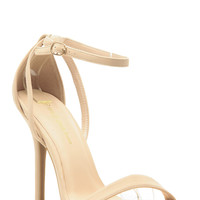 Natural Faux Nubuck Ankle Strap Single Sole Heels