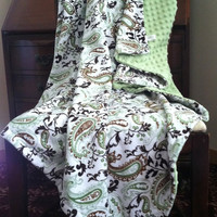 Minky Blanket Green Paisley with Sage Minky by DesignsByDiBlankets