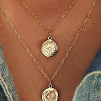Sun and Moon Layered Necklace