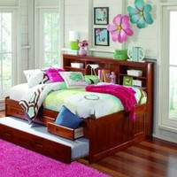MERLOT FULL CAPTAIN BOOKCASE DAYBED WITH 3 DRAWERS STORAGE/TRUNDLE UNIT