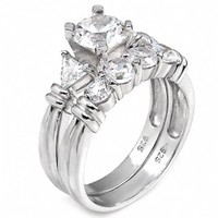 Maryanne's Sterling Silver Round Shape Cubic Zirconia Wedding Ring Set