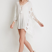 Crocheted Lace-Up Poncho Top