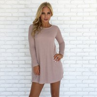 Strong Bond Knit Dress in Blush Pink