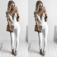 White V-Neck Sleeveless Jumpsuit