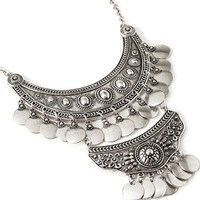 FOREVER 21 Etched Multi-Crescent Necklace Burn.S One