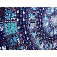 Blue Elephant Square Indian Tapestry Wall Hanging Mandala Bedspread Hippie Decor