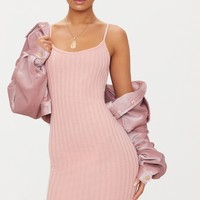 Pink Rib Knit Strappy Dress
