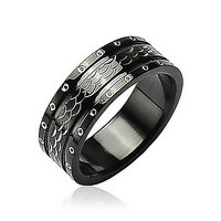 Black Dragon - FINAL SALE Excellence in Style Black Stainless Steel Ring Armor like Scales