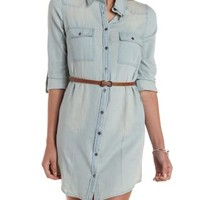 Lt Wash Denim Denim Chambray Shirt Dress by Charlotte Russe