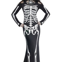 Black Long Sleeve Cut-Out Maxi Dress Skeleton Halloween Costume