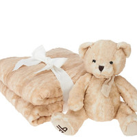 Dennis Basso 55x65 Oversized Signature Faux Fur Throw with Teddy Bear - H206267 — QVC.com