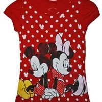 Mickey and Minnie Mouse Girls Red T Shirt