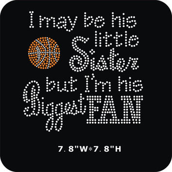 Basketball Sister iron on Rhinestone Transfer - Do It Yourself - Or Custom Personalized Shirt