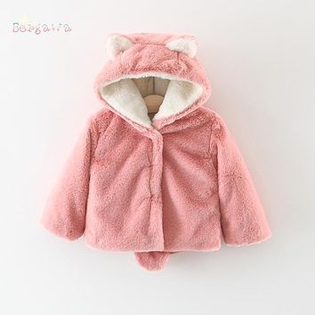 Warm Winter Baby Infants Girls Boys Kids Ear Hoody Hooded Thicken Faux Fur Jackets Cardigan Outwear Coat Parkas Casaco S5971