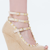 Studded T Strap Faux Suede Wedges - Beige- FINAL SALE