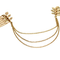 """""""Leaf It To Me"""" Gold Leaf Hair Comb Head Chain"""
