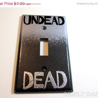 CYBER MONDAY SALE Zombie Switchplate - Dead and Undead Light Cover in Textured Silver and Black by Deeply Dapper