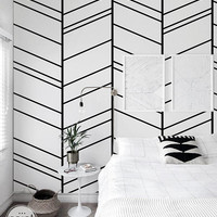 Herringbone Geometric Removable wallpaper Self adhesive wallpaper White peel and stick repositionable mural temporary wall paper roll 119a