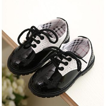 Toddler girl boots children's kids patent leather boots boys single princess spring autumn chaussure led enfant